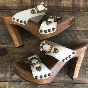 Diego di Lucca Leather Wooden Platform Sandals
